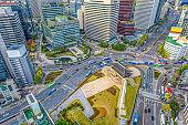 Aerial view of Namdaemun Gate in Seoul, South Korea.