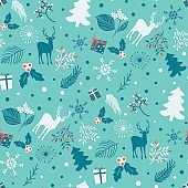 Seamless pattern with tree, leaves and  deer on a blue background. Merry Christmas background. Winter vector pattern