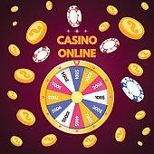 Internet casino. Spinning fortune wheel. Vector illustration.
