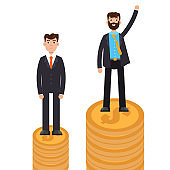 Business difference and discrimination,  man versus man, Inequality concept. Vector illustration.