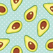 Seamless vector pattern with avocado on a polka dot background