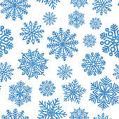 Seamless pattern with blue shiny snowflakes. Christmas decoration of sequin confetti.