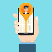 Taxi mobile app.  Man hand holds smartphone. Vector illustration.