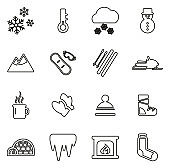 Winter Icons Thin Line Vector Illustration Set