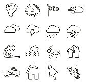 Tornado or Hurricane or Storm Icons Thin Line Vector Illustration Set