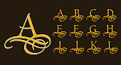 Vintage Set 1. Calligraphic capital letters with curls for Monograms