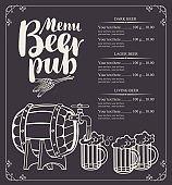 beer pub menu with barrel and full beer glasses