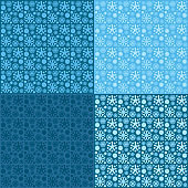 seamless patterns of snowflakes on blue background