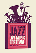 jazz festival poster with wind instruments and mic
