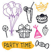 Party time: hand drawn doodle set