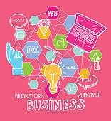 Brainstorm flat design. Business concept. Workspace.