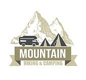 Camping and outdoor activity icon for tourism organizations, outdoor events and camping leisure. Tourism, hiking and camping labels.Hand drawn mountains. Outdoor camp and Mountain icon Badges.