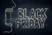 balck friday message on a blackboard