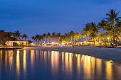 Luxury tropical beach resort  at night in Kota Kinabalu, Malaysia