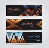 Design of black horizontal web banners.