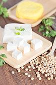 Tofu with soy bean and yellow tofu.