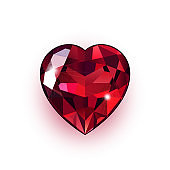 Jewel in the shape of heart isolated on white background.