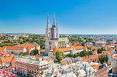Cathedral in the center of Zagreb, Croatia, vertical view