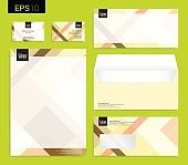 Modern stationery set in vector, letterhead, business card, envelope