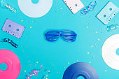 Musical objects on a blue background