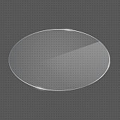 Vector realistic oval shape glass frame