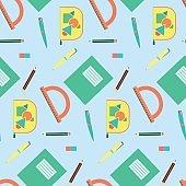 Cute cartoon school equipment seamless pattern