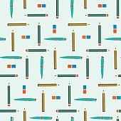 School seamless pattern with pens, pencils and erasers