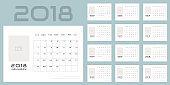 Simple minimalistic calendar of new 2018 year