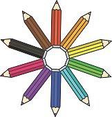 Flat bright color pencilc symbol, colour pencils organized in color wheel circle