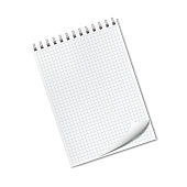 Realistic ruled notepad with dog ear, turned-up corner