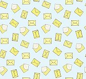 Cute hand drawn closed and opened yellow envelopes on blue background seamless pattern. Post office mail texture