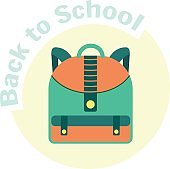 Flat colorful vector child school backpack icon
