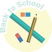 Flat vector school ruler, pencil and eraser icons.