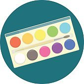 Flat vector kids watercolor paints in box for drawing lessons