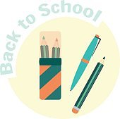 Flat color pencils in pencil case, pen and pencil
