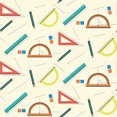 Cute school mathematics pattern with rulers, pencils, lines and erasers