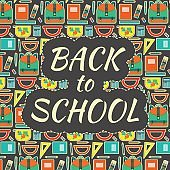 Cute kids educational colorful vector poster with school equipment with funny back to school text on pattern background