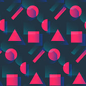 Fashion pattern with pink shapes and halftone