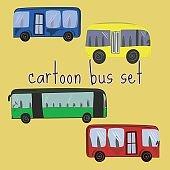 Set of cute cartoon buses