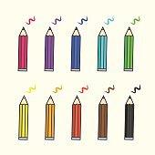 Flat color pencil icons, vector colour pencils with scratches set