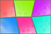 Colorful bright halftone dotted background for comic bubbles