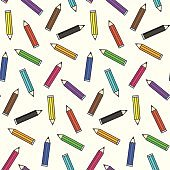 Bright school color pencils seamless pattern