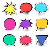 Set of bright colorful retro comic speech bubbles