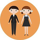 Flat vector isolated smiling schoolboy and schoolgirl. School characters for school posters or kids educational books