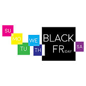 Colorful black friday banner with days of week squares