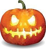 Low Poly Pumpkin Halloween Face