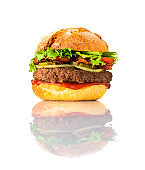 Tasty Looking Big Burger on White Background