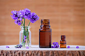 essential oil bottles and lavender flowers for aromatherapy