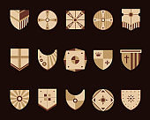Shields icons set. Vector illustration.