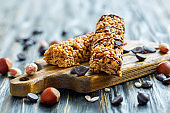 Cereal bars with nuts and chocolate.